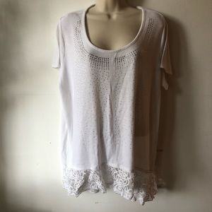Style & Co White Comfy Casual Diamond Lace Blouse